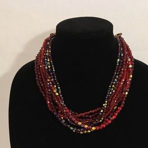 Multi strand Red & Purple Beaded Necklace